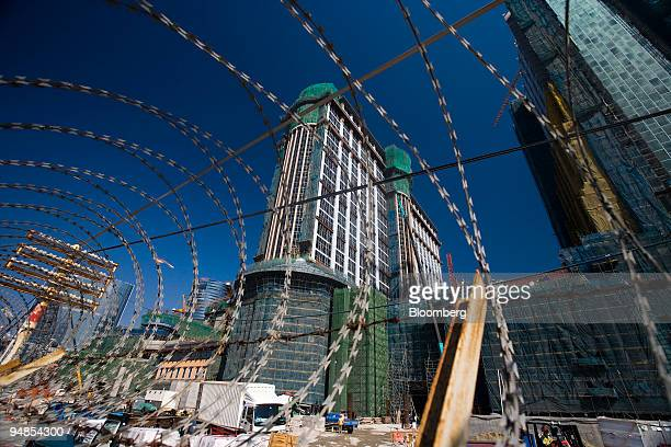 The Shangrila and Sheraton right hotels which are being developed by the Las Vegas Sands Corp are seen under construction in Macau China on Tuesday...