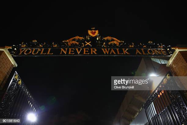 The Shankly Gates are seen prior to the Emirates FA Cup Third Round match between Liverpool and Everton at Anfield on January 5 2018 in Liverpool...