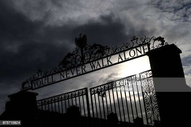 The Shankly Gates prior to the Premier League match between Liverpool and Southampton at Anfield on November 18 2017 in Liverpool England