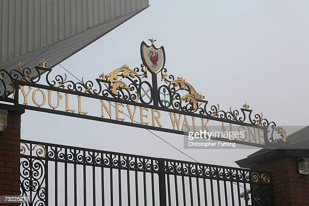 The Shankly gates stand outside the Anfield football ground on February 6 in Liverpool England American business partners George Gillett and Tom...