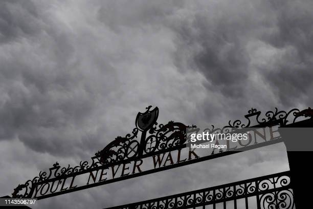 The Shankly Gates with 'You'll never walk alone' written on top are seen before the Premier League match between Liverpool FC and Chelsea FC at...