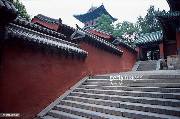 The Shaolin Monastery Temple at the base of Song Shan holy mountain in Songshan Henan China Song Shan is a Taoist holy mountain and is also the...