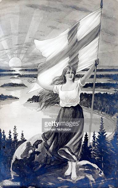 The shape of her poise and skirt corresponds to the shape of the map of Finland She is standing on a rock cum globe In the background is a scene of...