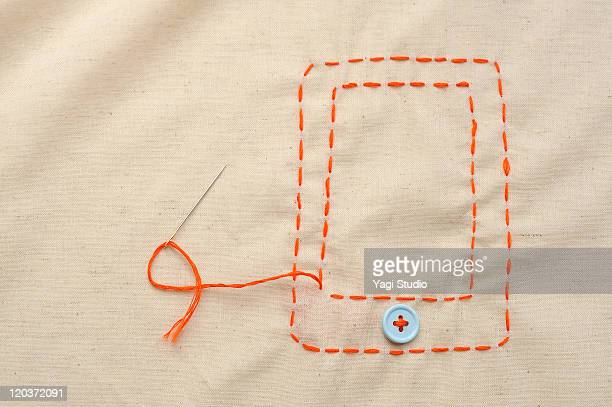 The shape of the digital tablet sewn with a thread