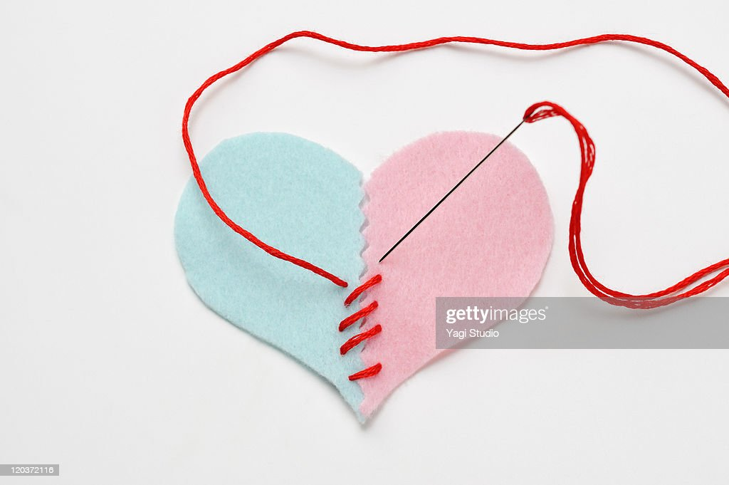 The Shape Of The Heart It Is Being Sewn With A T Stock Foto Getty