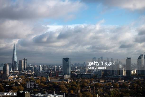 The Shard and financial district of Canary Wharf on November 7 2019 in London England