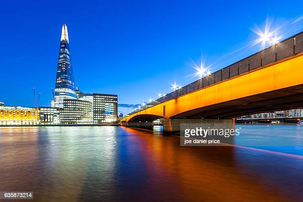 the shard and london bridge, london, england - london bridge stock photos and pictures