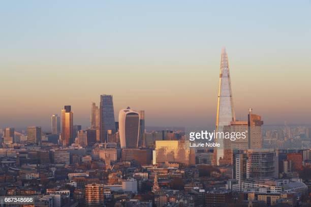 The Shard and London City skyline at sunset, London, England, UK