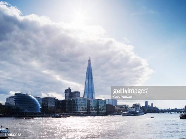 the shard and southbank in london - greater london stock pictures, royalty-free photos & images