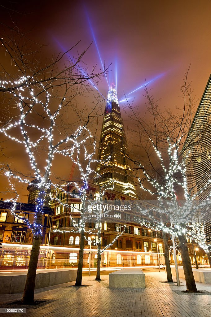 The Shard, as seen from More London, is celebrating the festive period with 'Shard Lights', a spectacular light installation created by award-winning art collective, Jason Bruges Studio at The Shard on December 27, 2014 in London, England.