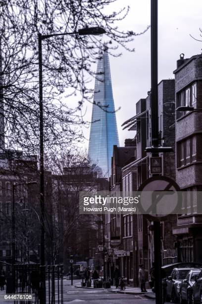 the shard behind shoreditch - shoreditch stock photos and pictures