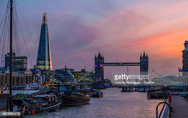 The Shard Building And Tower Bridge Against Sky During Sunset