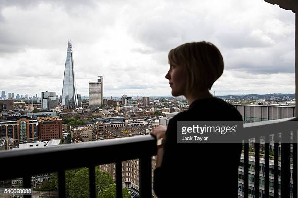 The Shard building pictured as a Tate employee looks out from the 10th floor viewing platform at Tate Modern's new Switch House on June 14 2016 in...