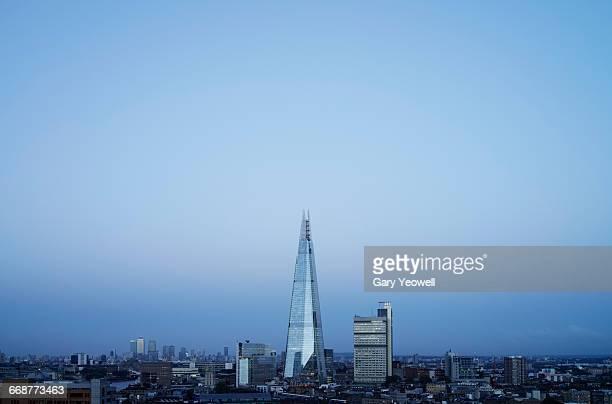 The Shard in London skyline at dusk