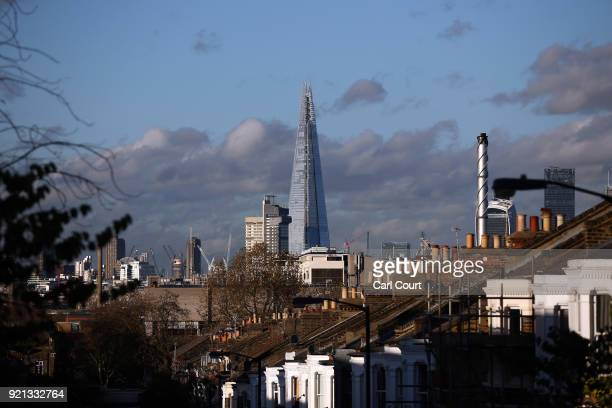 The Shard is pictured from Camberwell South East London on November 12 2014 in London England Currently the tallest building in the European Union at...