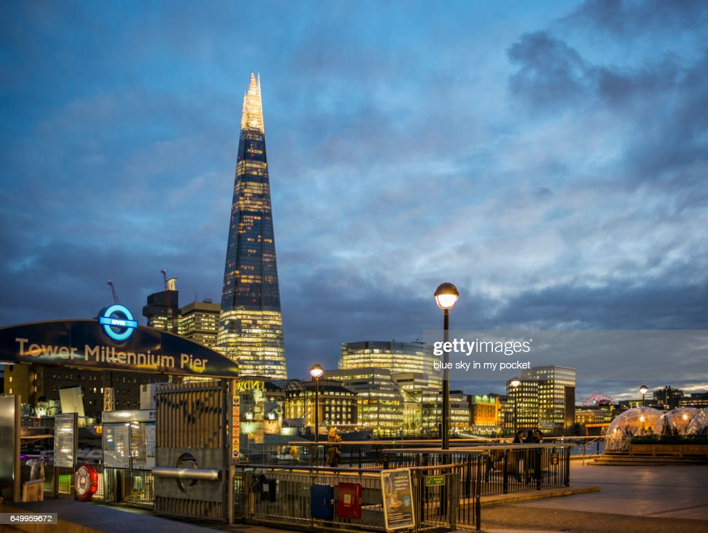 The Shard London and the Tower Millennium Pier : Stock Photo