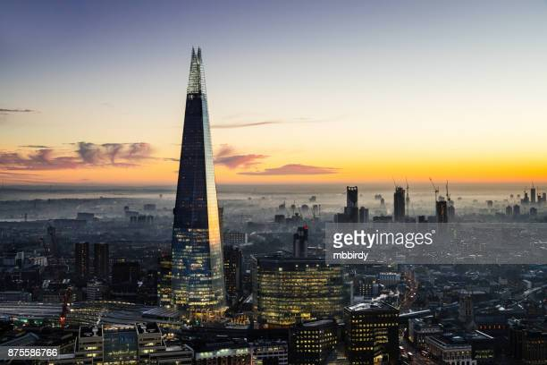 the shard skyscraper in london - skyscraper stock pictures, royalty-free photos & images