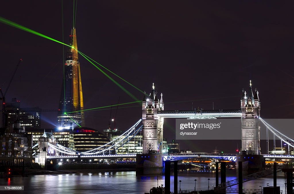 The Shard skyscraper opening laser show, London : Stock Photo