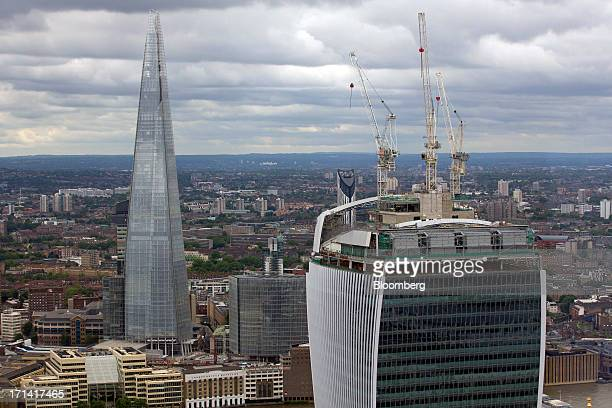 The Shard tower left and 20 Fenchurch Street also known as the 'WalkieTalkie' are seen from the top of the Swiss Re building also known as the...