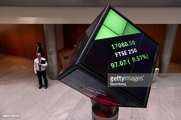 The share price of the FTSE 250 index is displayed on an illuminated rotating cube in the atrium of the London Stock Exchange Group Plc's offices in...