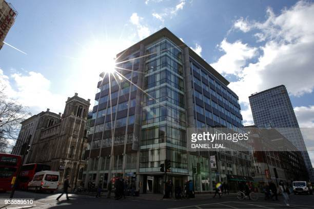 The shared building which houses the offices of Cambridge Analytica are pictured in central London on March 21 2018 The academic behind the app which...