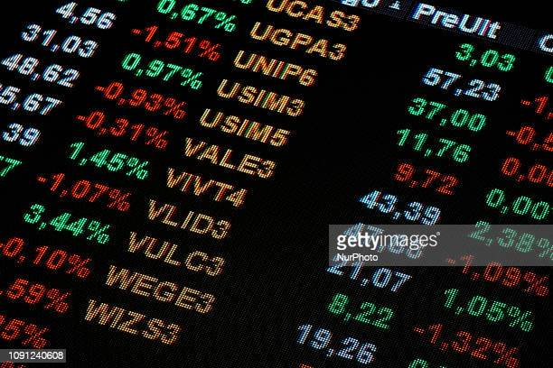 The shares of Brazil's multinational mining company Vale are seen on a screen at Sao Paulo's Stock Exchange headquarters in downtown Sao Paulo,...