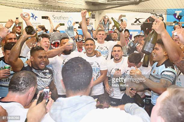The Sharks celebrate victory in the dressing room after winning the 2016 NRL Grand Final match between the Cronulla Sharks and the Melbourne Storm at...