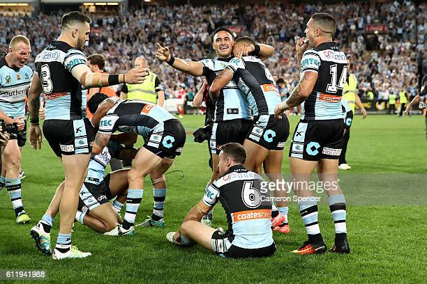 The Sharks celebrate winning the 2016 NRL Grand Final match between the Cronulla Sharks and the Melbourne Storm at ANZ Stadium on October 2 2016 in...