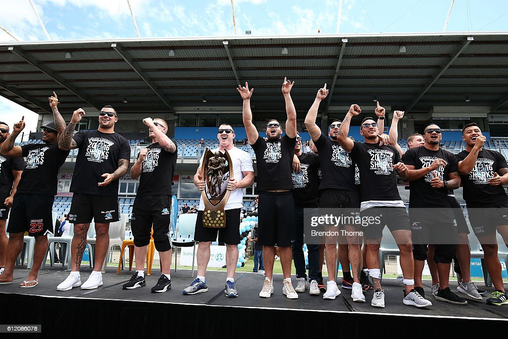 The Sharks celebrate with the Premiership Trophy after winning the 2016 NRL Grand Final during the Cronulla Sharks NRL Grand Final celebrations at Southern Cross Group Stadium on October 3, 2016 in Sydney, Australia. The Cronulla Sharks defeated the Melbourne Storm in yesterday's NRL Grand Final.