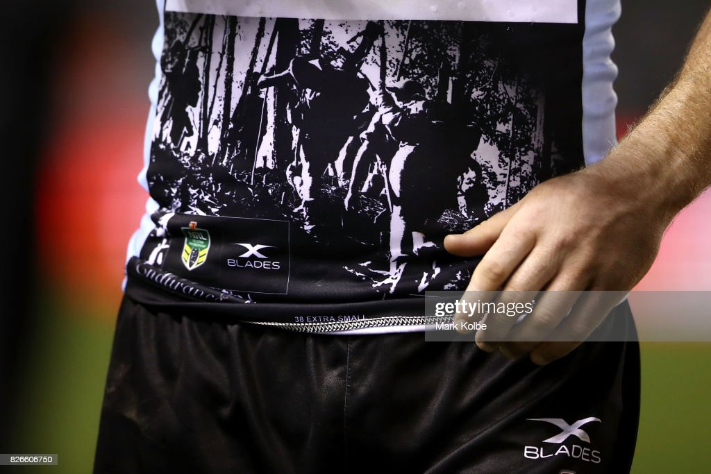The Sharks Kokoda Track jumper is seen during the round 22 NRL match between the Cronulla Sharks and the Canberra Raiders at Southern Cross Group Stadium on August 5, 2017 in Sydney, Australia.