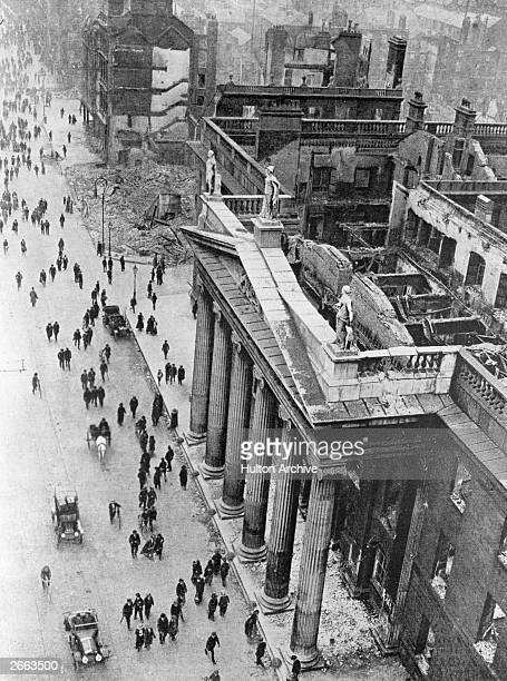 The shattered remains of the General Post Office in Sackville Street Dublin after the Easter Rising Fighting occurred after members of the Irish...