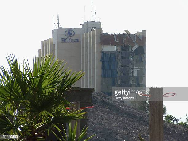 The shattered side of the Hilton Hotel in Egyptian resort of Taba on the Red Sea is seen on October 8 2004 in Taba Egypt Some 100 people were wounded...