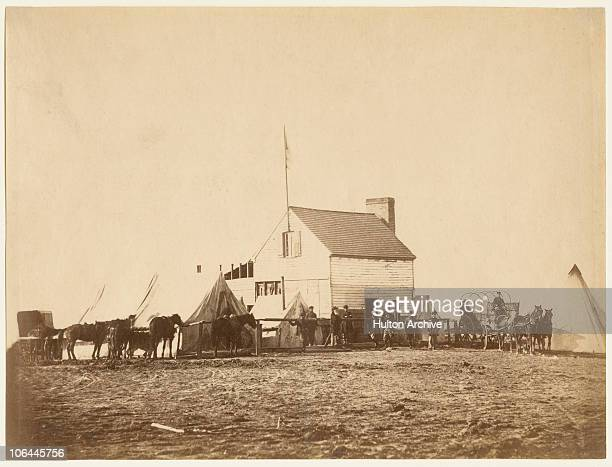 The 'Shebang' or headquarters of the US Sanitary Commission at Brandy Station Virginia during the American Civil War circa 1863 Positive by Alexander...