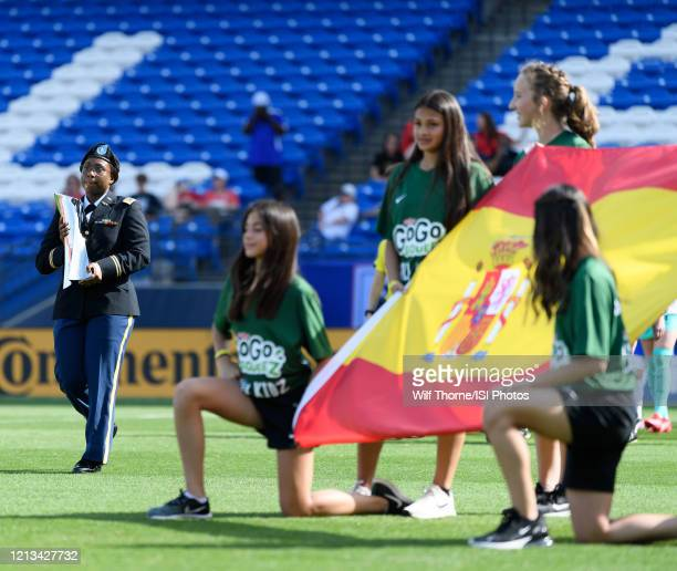 The SheBelieves Cup is brought onto the pitch during a game between England and Spain at Toyota Stadium on March 11 2020 in Frisco Texas