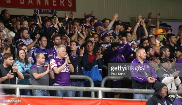 The shed show their support at the 21 minute mark after the passing of 21 year old supporter Lewis Bailey during the round 15 ALeague match between...
