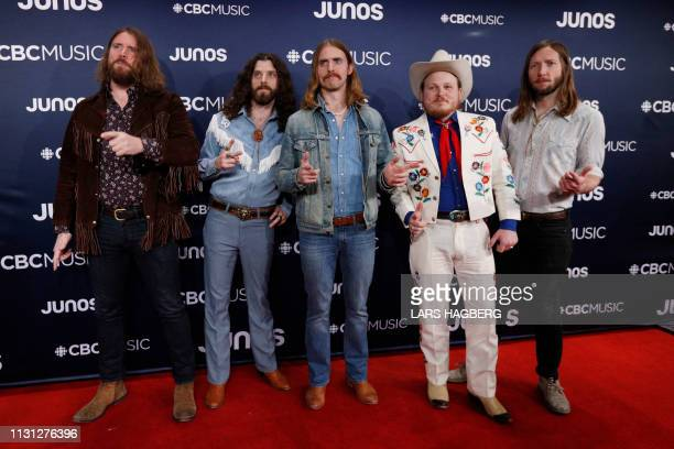 The Sheepdogs arrive on the red carpet for the Juno Music Awards at Budweiser Gardens in London, Canada, March 17, 2019.