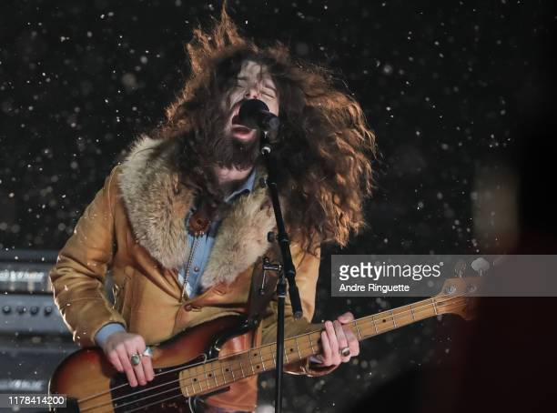 The Sheepdogs perform during the first intermission as the Calgary Flames take on the Winnipeg Jets during the 2019 Tim Hortons NHL Heritage Classic...