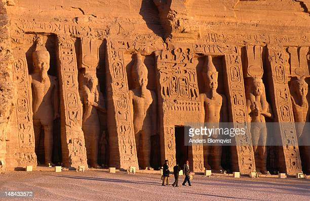 The sheer size of the huge Great Temple at Abu Simbel is illustrated by visitors to the site.