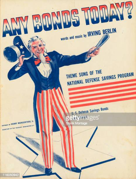 The sheet music cover for the theme song of the National Defense Savings Program shows an illustration of Uncle Sam smiling and tipping his hat 1941...