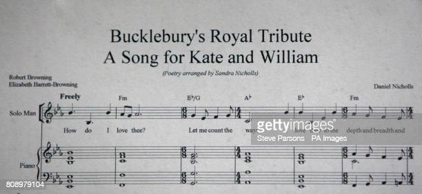 The sheet music for a song Daniel Nicholls Kate Middleton's former piano teacher has written as a tribute to her upcoming wedding to Prince William...