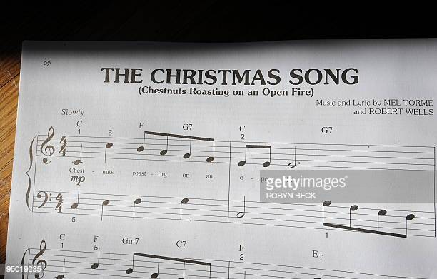 The sheet music for The Christmas Song by Mel Torme and Robert Wells is photographed on December 22 2009 in Los Angeles California It' the...