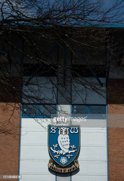The Sheffield Wednesday club crest outside the Hillsborough Stadium home of Sheffield Wednesday Football Club on March 23 2020 in Sheffield England