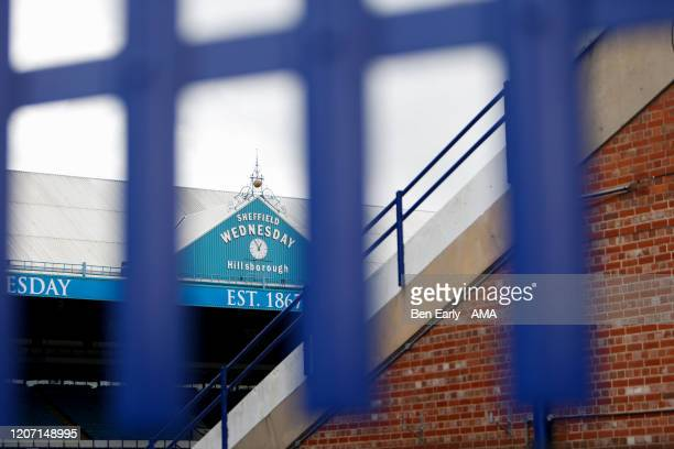 MARCH The Sheffield Wednesday club face visible through a locked gate at Sheffield Wednesday home stadium Hillsborough on March 14 2020 in Sheffield...
