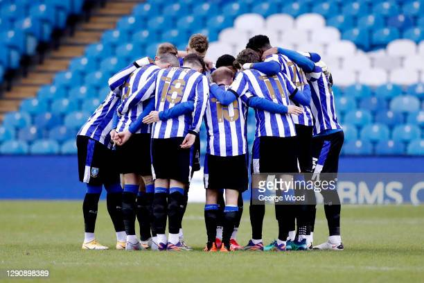 The Sheffield Wednesday team huddle ahead of the Sky Bet Championship match between Sheffield Wednesday and Barnsley at Hillsborough Stadium on...