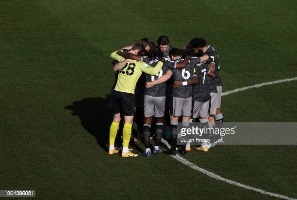 The Sheffield Wednesday team huddle prior to the Sky Bet Championship match between Luton Town and Sheffield Wednesday at Kenilworth Road on February...