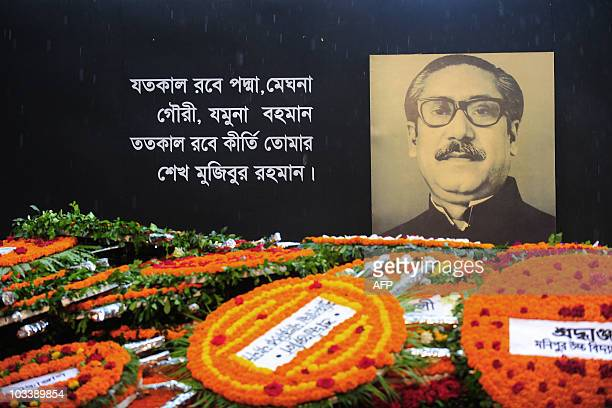The Sheikh Mujibur Rahman Memorial is covered with floral wreaths in Dhaka on August 15 2010 Bangladesh's Sheikh Mujibur Rahman the country's...