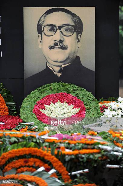 The Sheikh Mujibur Rahman Memorial is covered with flower wreaths in Dhaka on August 15 2009 Bangladesh's Sheikh Mujibur Rahman the country's...