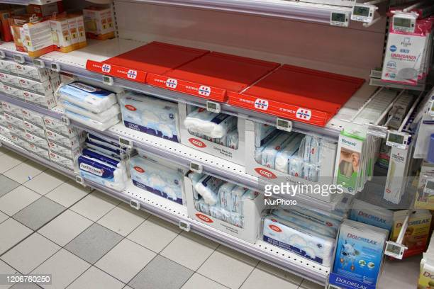 The shelf of disinfectants in a supermarket in Turin Italy on March 12 2020 The Italian prime minister Giuseppe Conte ordered on Wednesday night the...