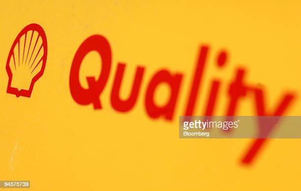 The Shell company logo is displayed on a fuel pump at a Shell service station at Abingdon near Cambridge UK on Monday July 23 2007 Royal Dutch Shell...