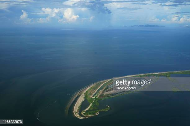 The Shell Island barrier island stands between the Gulf of Mexico and Bataria Bay on August 22, 2019 in Plaquemines Parish, Louisiana. The $80...